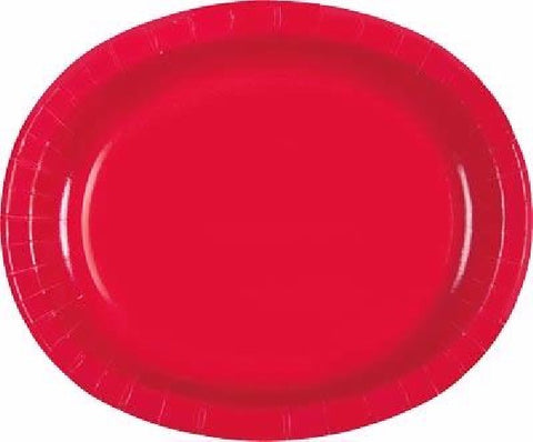 8PK RUBY RED OVAL PLASTIC PLATES
