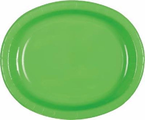 8PK LIME GREEN OVAL PLATES