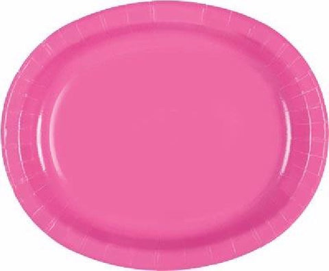 8PK HOT PINK OVAL PLATES