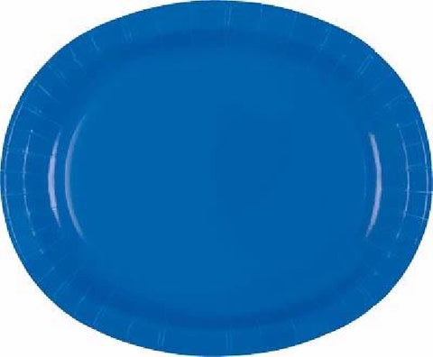 8PK ROYAL BLUE OVAL PLATES