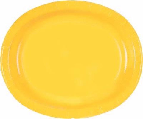 8PK SUNFLOWER YELLOW OVAL PLATES