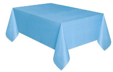 POWDER BLUE PLASTIC OBLONG TABLECOVER