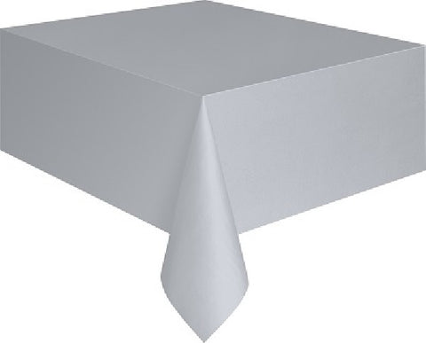 SILVER PLASTIC OBLONG TABLECOVER