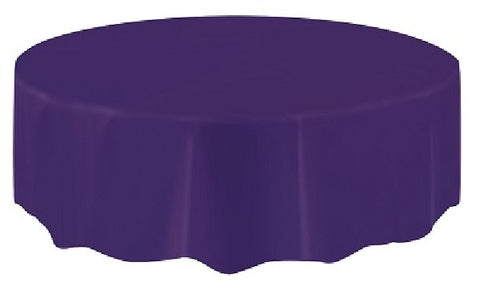 DEEP PURPLE ROUND PLASTIC TABLECOVER