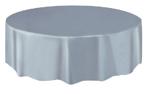 SILVER ROUND PLASTIC TABLECOVER