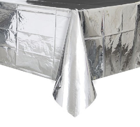 54X84IN SILVER FOIL TABLECOVER
