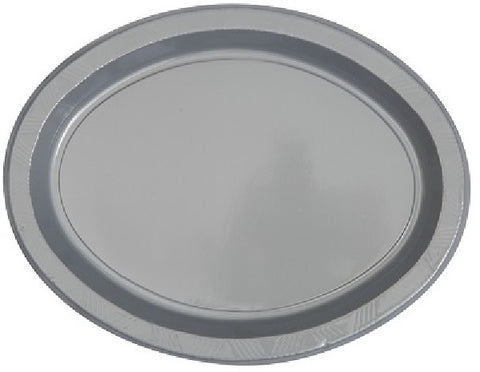 8PK SILVER PLASTIC OVAL PLATES
