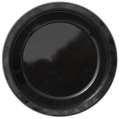 8PK 10IN BLACK PLASTIC PLATES.