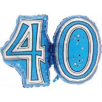 28IN 40TH BLUE FOIL BALLOON - Code 00301