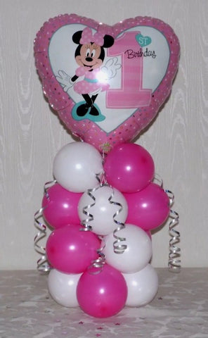 Minnie Mouse 1st Birthday Foil On Mini Pillar - Code 00381