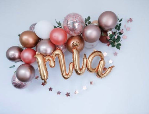 Metallic Personalised Balloon Display with Foliage