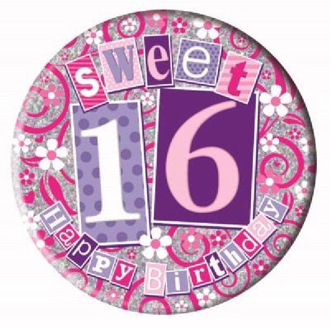 BADGE 6IN 16 TODAY PINK JUMBO