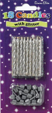 CANDLES SILVER GLITTER 18PK.