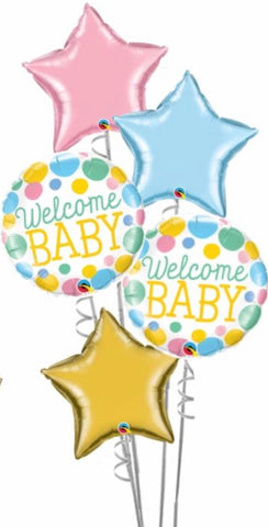 Welcome Baby 5 Foil Balloon Bouquet