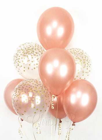 Extra Large 10 Latex Balloon Bouquet Rose Gold - Code 001