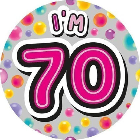 BADGE 6IN 70 TODAY PINK JUMBO