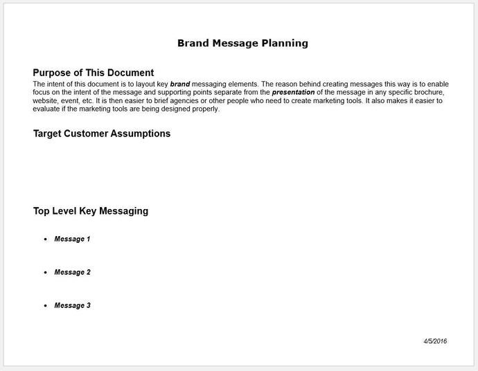 Brand Messaging Planning Worksheet and Template - Clickstarters