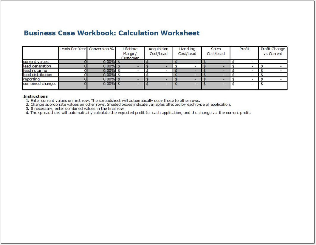 Business Case Calculation Workbook - Clickstarters