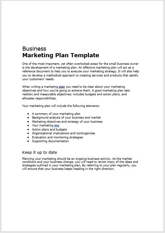 Business marketing plan template clickstarters fbccfo Image collections