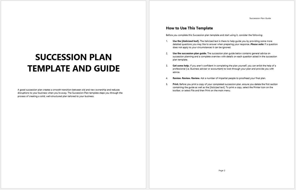 Business succession planning template and guide for Management succession plan template