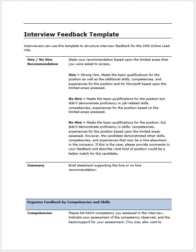 candidate interview feedback report template clickstarters. Black Bedroom Furniture Sets. Home Design Ideas