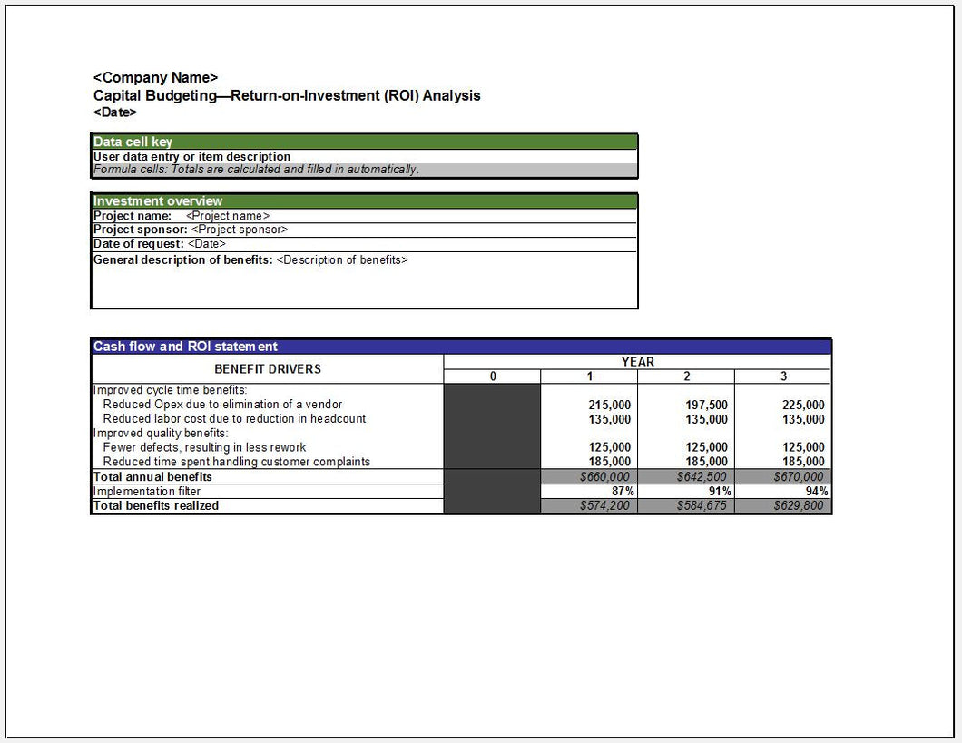 Capital Budgeting Return on Investment (ROI) Analysis Template - Clickstarters