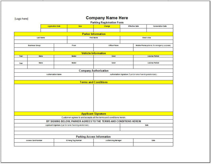 Company Parking Registration Form - Clickstarters