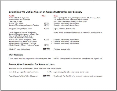 Customer Lifetime Value and Present Value Calculator Template