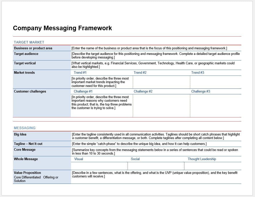 Detailed Company Messaging Planning Worksheet and Template \u2013 Clickstarters