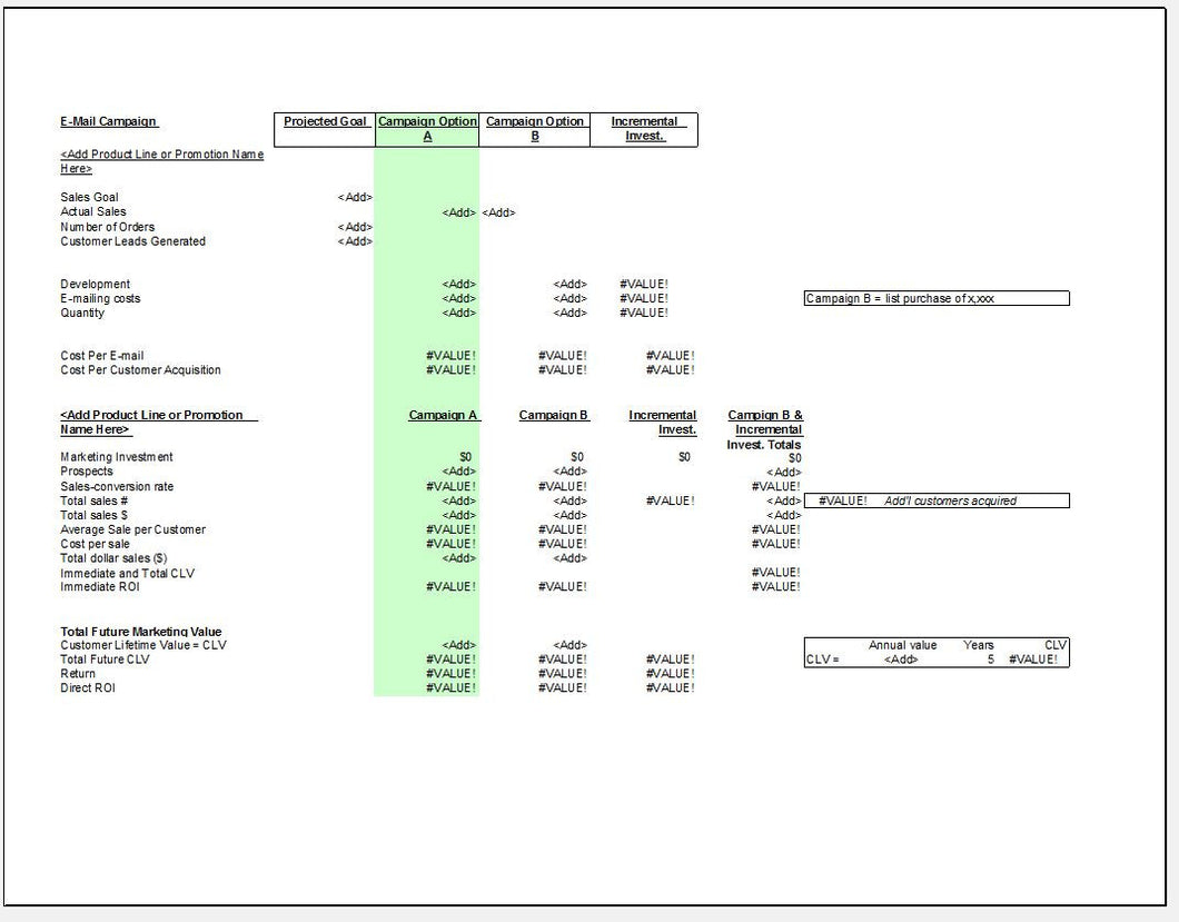 Email Marketing Campaign Roi Calculator And Estimation Tool Template