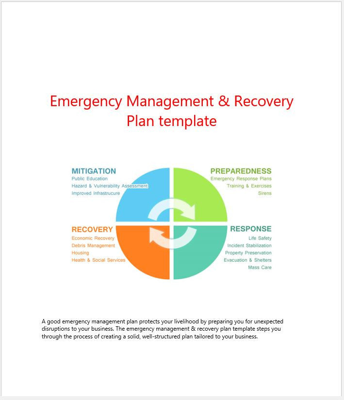 Emergency management recovery plan template clickstarters for Incident management policy template