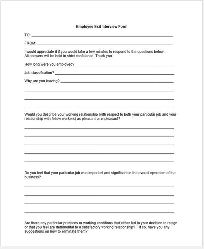 Marvelous Employee Exit Interview Questionnaire Template   Clickstarters