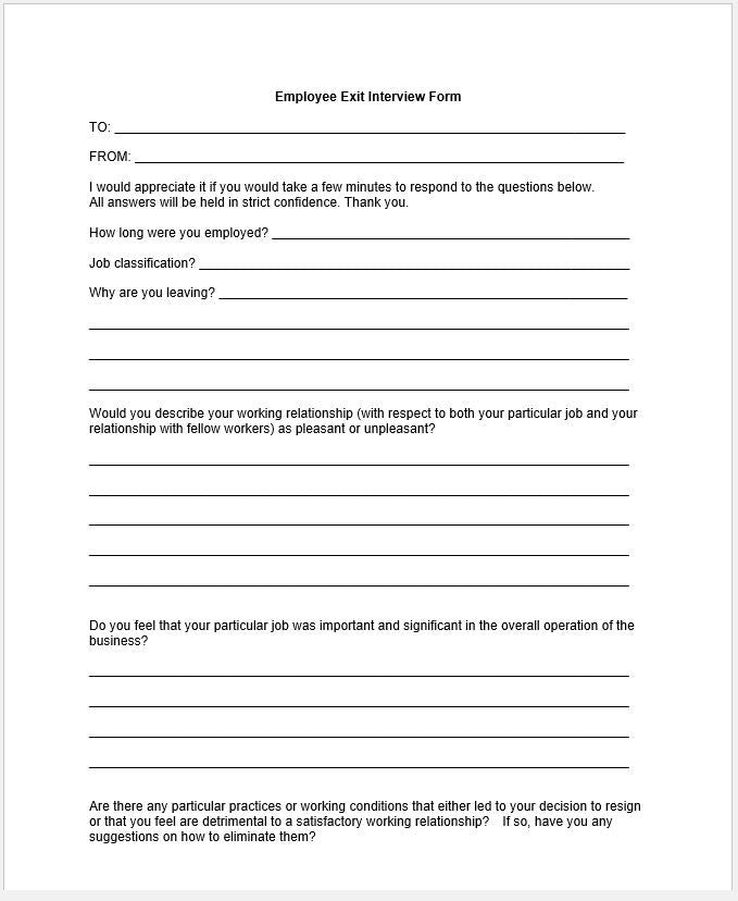 Employee Exit Interview Questionnaire Template Clickstarters – Exit Interview Form
