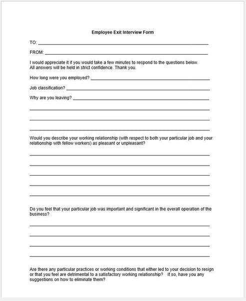 Employee Exit Form Template. Employee Termination Form,Doc.#400517 ...