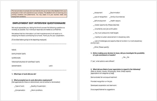 Employment Exit Interview Questionnaire Template - Clickstarters