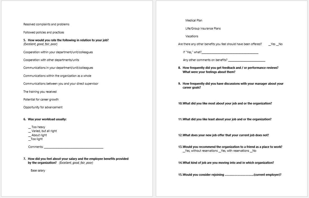 employee exit interview template