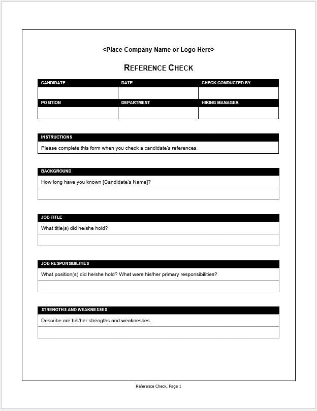 Employment reference check form clickstarters for Employment reference check form template