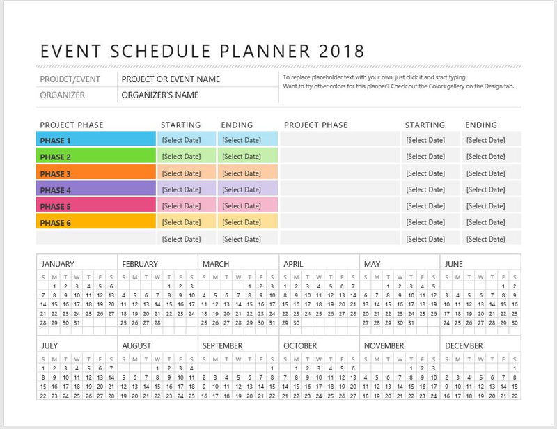 Sample Event Schedule Planner Template  Formal Word