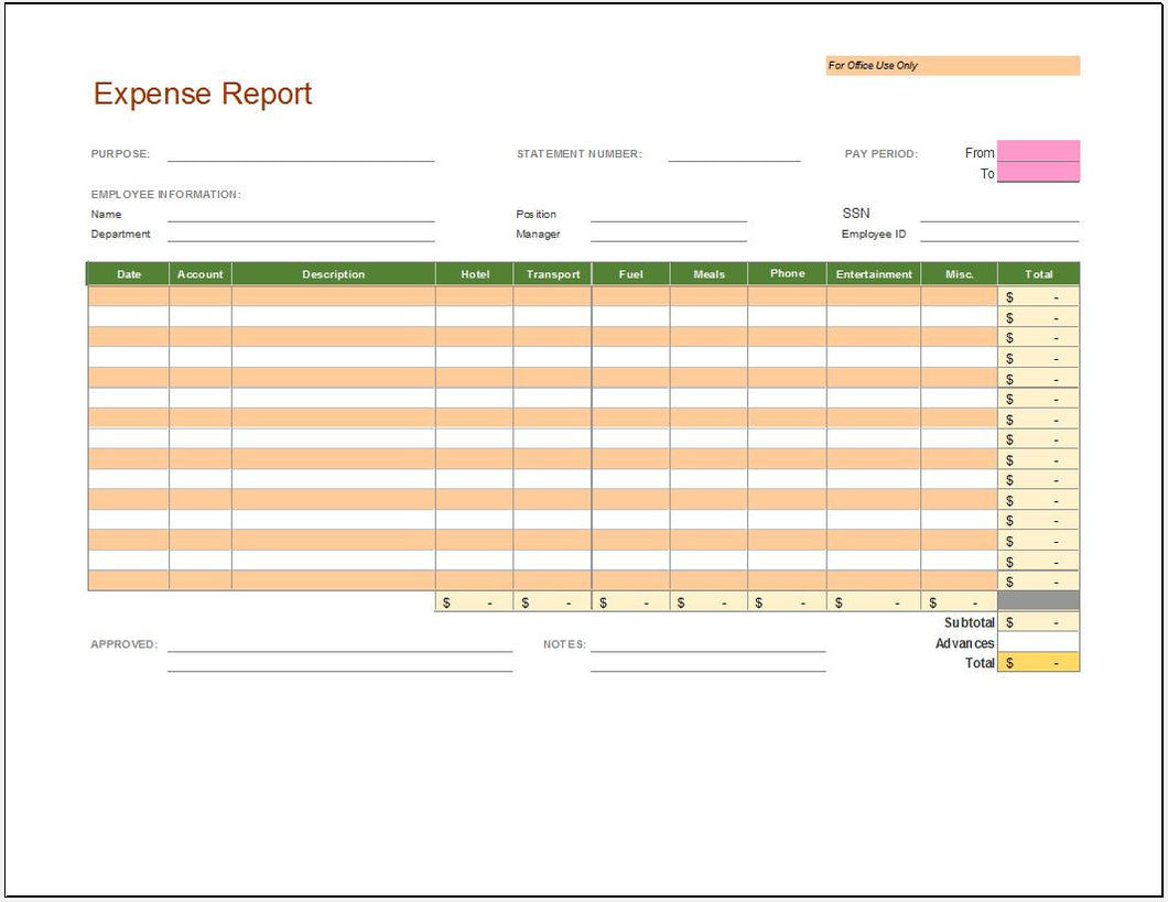 Expense Budget Report Template - Clickstarters