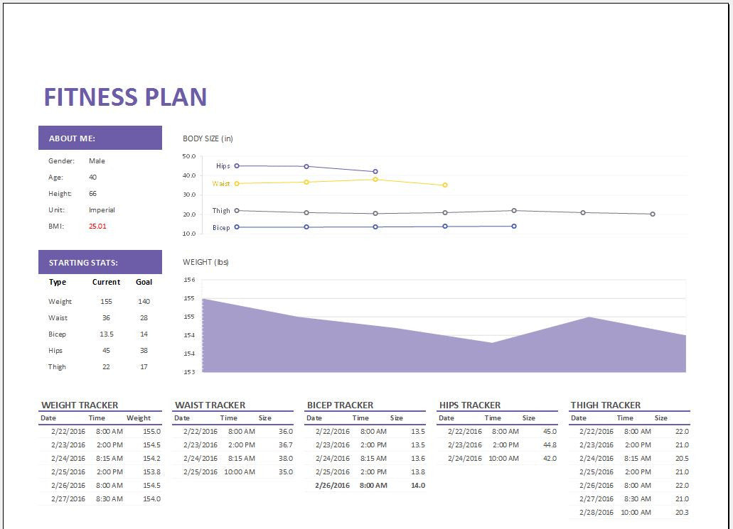 Personal fitness plan and tracker worksheet template clickstarters pronofoot35fo Choice Image
