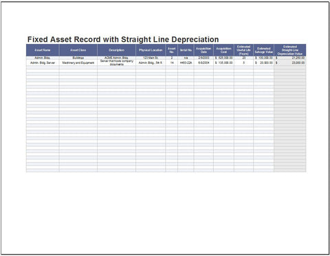 Fixed Asset Record with Straight Line Depreciation - Clickstarters
