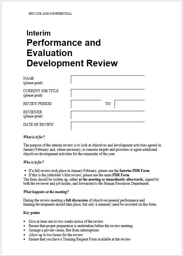 Interim Performance Evaluation and Development Review (PEDR) Template - Clickstarters