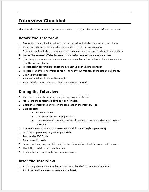 Interview Checklist and Template - Clickstarters