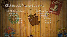 Logos on Wood Wall Background PowerPoint Template - Clickstarters
