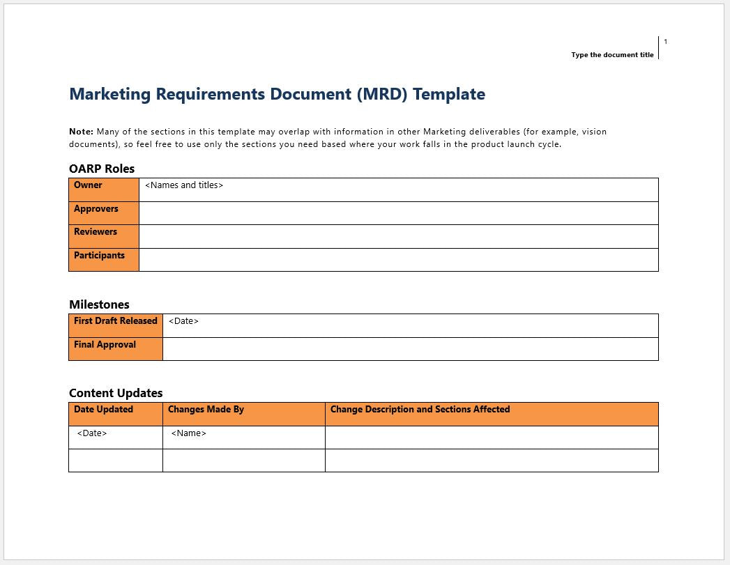 Marketing Requirements Document (MRD) Template and Worksheet