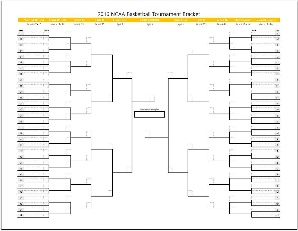 March madness tournament bracket template clickstarters for Tournament spreadsheet template