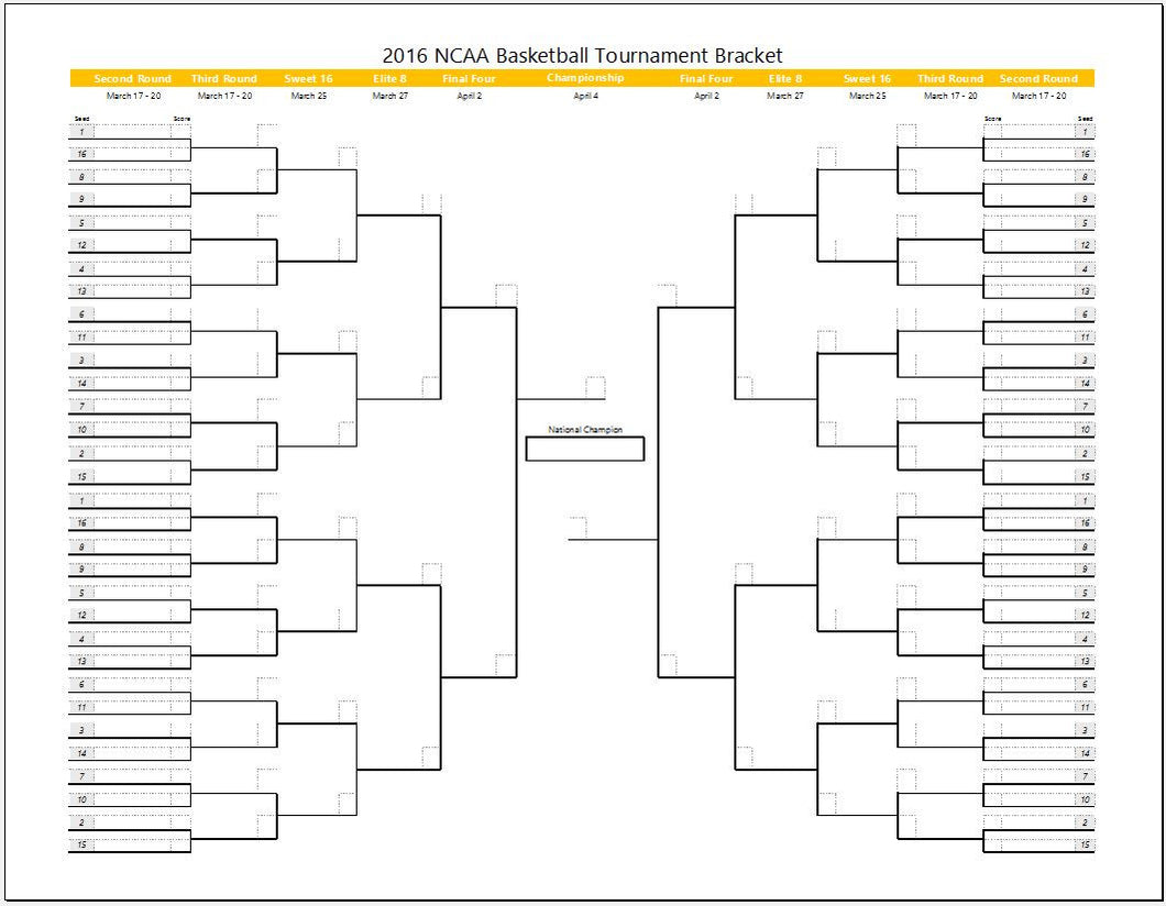 March Madness Tournament Bracket Template - Clickstarters