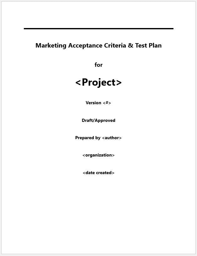Marketing Positioning and Story Acceptance Criteria and Test Plan Template - Clickstarters