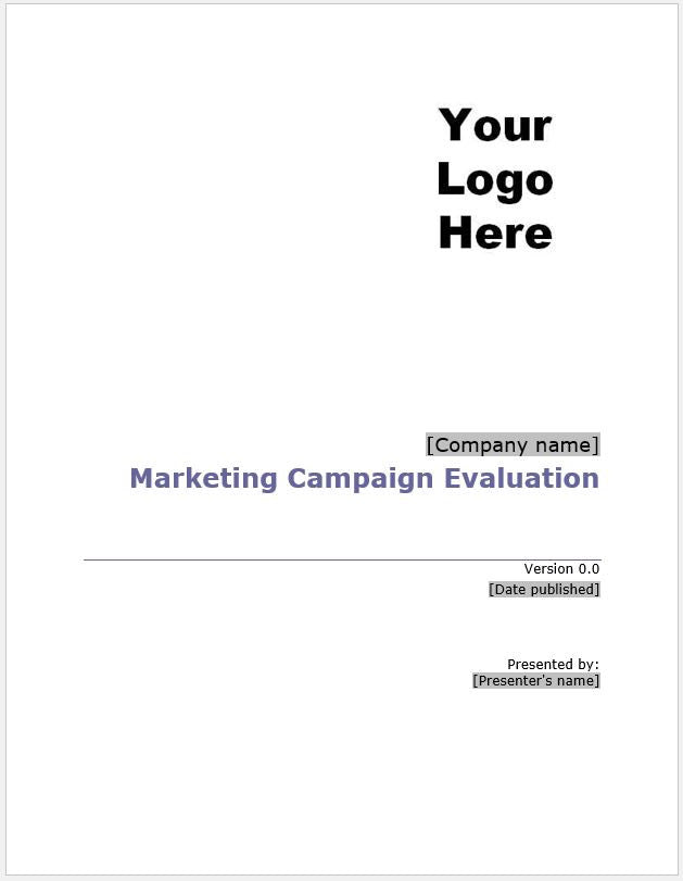 Marketing Campaign Evaluation Template - Clickstarters