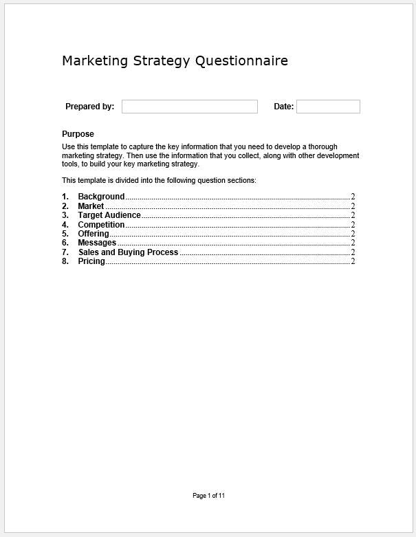 marketing strategy questionnaire template  u2013 clickstarters